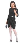 Деловое платье черного цвета. Платья для деловых женщин.  Платья для бизнесс-леди. Платье с юбкой на запаз со сложными драпировками.