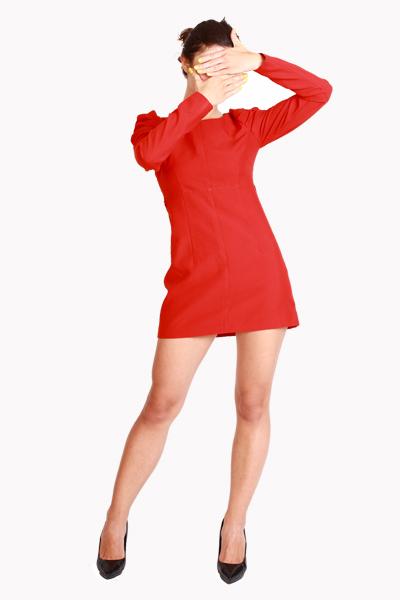 Изобр по > Маленькое Красное Платье с Рукавами